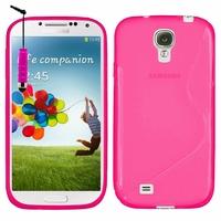 Samsung Galaxy S4 i9500/ i9505/ Value Edition I9515: Coque silicone Gel motif S au dos + mini Stylet - ROSE