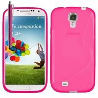 Samsung Galaxy S4 i9500/ i9505/ Value Edition I9515: Coque silicone Gel motif S au dos + Stylet - ROSE
