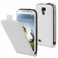 Samsung Galaxy S4 i9500/ i9505/ Value Edition I9515: Etui Rabattable Verticale en cuir PU - BLANC