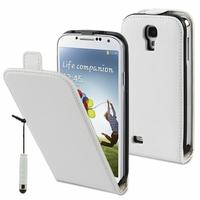 Samsung Galaxy S4 i9500/ i9505/ Value Edition I9515: Etui Rabattable Verticale en cuir PU + mini Stylet - BLANC