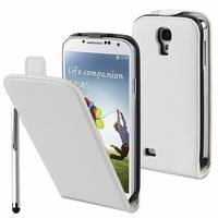 Samsung Galaxy S4 i9500/ i9505/ Value Edition I9515: Etui Rabattable Verticale en cuir PU + Stylet - BLANC