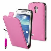 Samsung Galaxy S4 mini i9190/ S4 mini plus I9195I/ i9192/ i9195/ i9197: Etui Rabattable Verticale en cuir PU + mini Stylet - ROSE