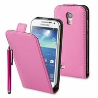 Samsung Galaxy S4 mini i9190/ S4 mini plus I9195I/ i9192/ i9195/ i9197: Etui Rabattable Verticale en cuir PU + Stylet - ROSE
