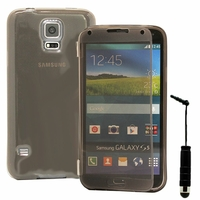 Samsung Galaxy S5 V G900F G900IKSMATW LTE G901F/ Duos / S5 Plus/ S5 Neo SM-G903F/ S5 LTE-A G906S: Coque Silicone gel Livre rabat + mini Stylet - GRIS
