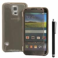 Samsung Galaxy S5 V G900F G900IKSMATW LTE G901F/ Duos / S5 Plus/ S5 Neo SM-G903F/ S5 LTE-A G906S: Coque Silicone gel Livre rabat + Stylet - GRIS