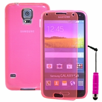 Samsung Galaxy S5 V G900F G900IKSMATW LTE G901F/ Duos / S5 Plus/ S5 Neo SM-G903F/ S5 LTE-A G906S: Coque Silicone gel Livre rabat + mini Stylet - ROSE