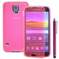 Samsung Galaxy S5 V G900F G900IKSMATW LTE G901F/ Duos / S5 Plus/ S5 Neo SM-G903F/ S5 LTE-A G906S: Coque Silicone gel Livre rabat + Stylet - ROSE
