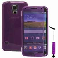 Samsung Galaxy S5 V G900F G900IKSMATW LTE G901F/ Duos / S5 Plus/ S5 Neo SM-G903F/ S5 LTE-A G906S: Coque Silicone gel Livre rabat + mini Stylet - VIOLET