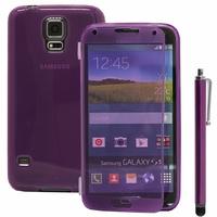 Samsung Galaxy S5 V G900F G900IKSMATW LTE G901F/ Duos / S5 Plus/ S5 Neo SM-G903F/ S5 LTE-A G906S: Coque Silicone gel Livre rabat + Stylet - VIOLET