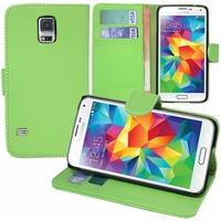 Samsung Galaxy S5 V G900F G900IKSMATW LTE G901F/ Duos / S5 Plus/ S5 Neo SM-G903F/ S5 LTE-A G906S: Etui portefeuille Support Video cuir PU - VERT