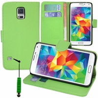 Samsung Galaxy S5 V G900F G900IKSMATW LTE G901F/ Duos / S5 Plus/ S5 Neo SM-G903F/ S5 LTE-A G906S: Etui portefeuille Support Video cuir PU + mini Stylet - VERT