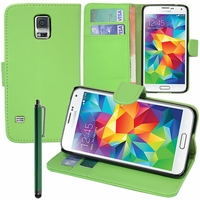 Samsung Galaxy S5 V G900F G900IKSMATW LTE G901F/ Duos / S5 Plus/ S5 Neo SM-G903F/ S5 LTE-A G906S: Etui portefeuille Support Video cuir PU + Stylet - VERT