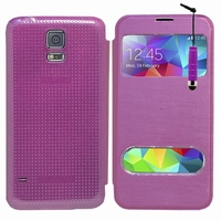Samsung Galaxy S5 V G900F G900IKSMATW LTE G901F/ Duos / S5 Plus/ S5 Neo SM-G903F/ S5 LTE-A G906S: Etui flip coque S-View support  + mini Stylet - VIOLET
