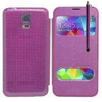 Samsung Galaxy S5 V G900F G900IKSMATW LTE G901F/ Duos / S5 Plus/ S5 Neo SM-G903F/ S5 LTE-A G906S: Etui flip coque S-View support  + Stylet - VIOLET