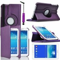 Samsung Galaxy Tab 3 Lite 7.0 T110/ Tab 3 Lite 7.0 VE Wi-Fi T113/ Tab 3 V T116NU/ Tab 3 Lite 7.0 3G T111: Etui Cuir PU Support Rotatif 360° + mini Stylet - VIOLET