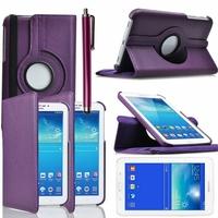 Samsung Galaxy Tab 3 Lite 7.0 T110/ Tab 3 Lite 7.0 VE Wi-Fi T113/ Tab 3 V T116NU/ Tab 3 Lite 7.0 3G T111: Etui Cuir PU Support Rotatif 360° + Stylet - VIOLET