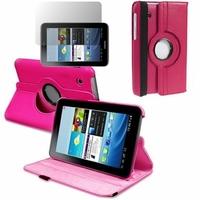 Samsung Galaxy Tab 2 7.0 P3100/ P3110: Etui Cuir PU Support Rotatif 360° - ROSE