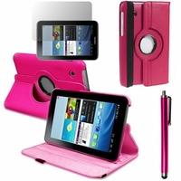 Samsung Galaxy Tab 2 7.0 P3100/ P3110: Etui Cuir PU Support Rotatif 360° + Stylet - ROSE
