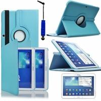 Samsung Galaxy Tab 3 10.1 P5200/ P5210/ P5220/SM-T510: Etui Cuir PU Support Rotatif 360° + mini Stylet - BLEU