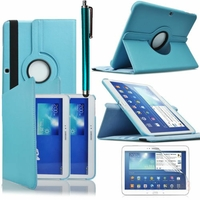 Samsung Galaxy Tab 3 10.1 P5200/ P5210/ P5220/SM-T510: Etui Cuir PU Support Rotatif 360° + Stylet - BLEU