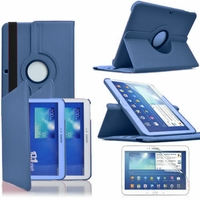 Samsung Galaxy Tab 3 10.1 P5200/ P5210/ P5220/SM-T510: Etui Cuir PU Support Rotatif 360° - BLEU FONCE