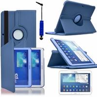 Samsung Galaxy Tab 3 10.1 P5200/ P5210/ P5220/SM-T510: Etui Cuir PU Support Rotatif 360° + mini Stylet - BLEU FONCE
