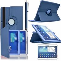 Samsung Galaxy Tab 3 10.1 P5200/ P5210/ P5220/SM-T510: Etui Cuir PU Support Rotatif 360° + Stylet - BLEU FONCE