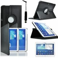 Samsung Galaxy Tab 3 10.1 P5200/ P5210/ P5220/SM-T510: Etui Cuir PU Support Rotatif 360° + mini Stylet - NOIR