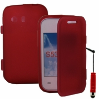 Samsung Galaxy Y Neo GT-S5360 S5369i: Coque Silicone gel Livre rabat + mini Stylet - ROUGE
