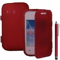 Samsung Galaxy Y Neo GT-S5360 S5369i: Coque Silicone gel Livre rabat + Stylet - ROUGE