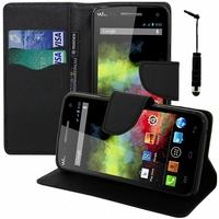 Wiko Rainbow 4G: Etui portefeuille Support Video cuir PU effet tissu + mini Stylet - NOIR