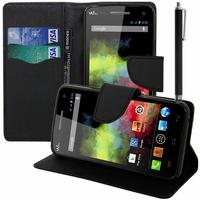 Wiko Rainbow 4G: Etui portefeuille Support Video cuir PU effet tissu + Stylet - NOIR