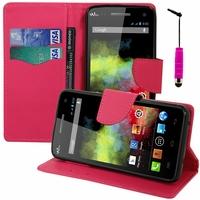 Wiko Rainbow 4G: Etui portefeuille Support Video cuir PU effet tissu + mini Stylet - ROSE