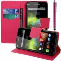 Wiko Rainbow 4G: Etui portefeuille Support Video cuir PU effet tissu + Stylet - ROSE