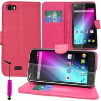 Wiko Lenny: Etui portefeuille Support Video cuir PU + mini Stylet - ROSE