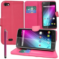 Wiko Lenny: Etui portefeuille Support Video cuir PU + Stylet - ROSE