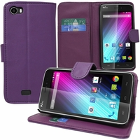 Wiko Lenny: Etui portefeuille Support Video cuir PU - VIOLET