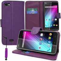 Wiko Lenny: Etui portefeuille Support Video cuir PU + mini Stylet - VIOLET