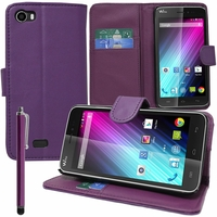 Wiko Lenny: Etui portefeuille Support Video cuir PU + Stylet - VIOLET
