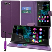 Wiko Ridge 4G: Etui portefeuille Support Video cuir PU + mini Stylet - VIOLET