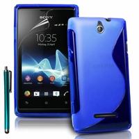 Sony Xperia E/ E Dual C1605 C1505 C1604: Coque silicone Gel motif S au dos + Stylet - BLEU