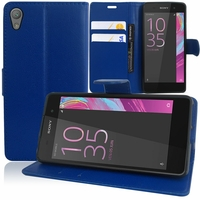 Sony Xperia E5 F3311 F3313: Etui portefeuille Support Video cuir PU - BLEU FONCE