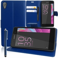 Sony Xperia E5 F3311 F3313: Etui portefeuille Support Video cuir PU + Stylet - BLEU FONCE