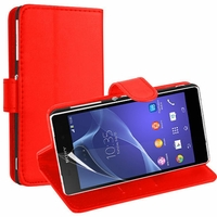 Sony Xperia L S36h/C2105/C2104: Etui portefeuille Support Video cuir PU - ROUGE