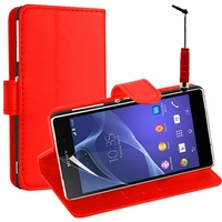Sony Xperia L S36h/C2105/C2104: Etui portefeuille Support Video cuir PU + mini Stylet - ROUGE