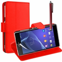 Sony Xperia L S36h/C2105/C2104: Etui portefeuille Support Video cuir PU + Stylet - ROUGE