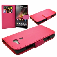 Sony Xperia SP M35h C5302 C5303 C5306: Etui portefeuille Livre Housse Coque Pochette cuir PU - ROSE
