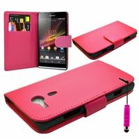 Sony Xperia SP M35h C5302 C5303 C5306: Etui portefeuille Livre Housse Coque Pochette cuir PU + mini Stylet - ROSE