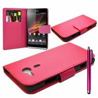 Sony Xperia SP M35h C5302 C5303 C5306: Etui portefeuille Livre Housse Coque Pochette cuir PU + Stylet - ROSE