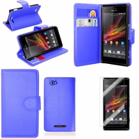 Sony Xperia SP M35h C5302 C5303 C5306: Etui portefeuille Support Video cuir PU - BLEU FONCE